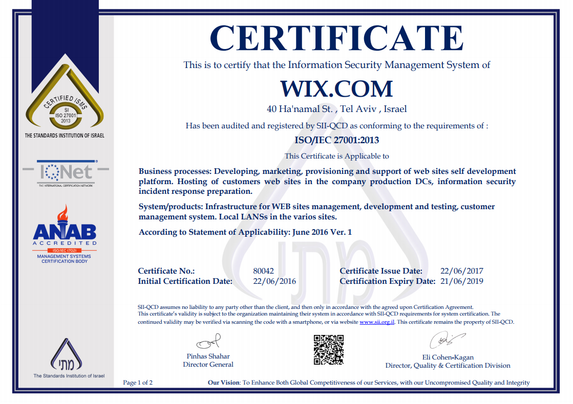 Security of wixs billing services and pci compliance help wix has been audited and certified as iso 27001 compliant the iso 27001 certification outlines industry best practices for managing security risks 1betcityfo Gallery