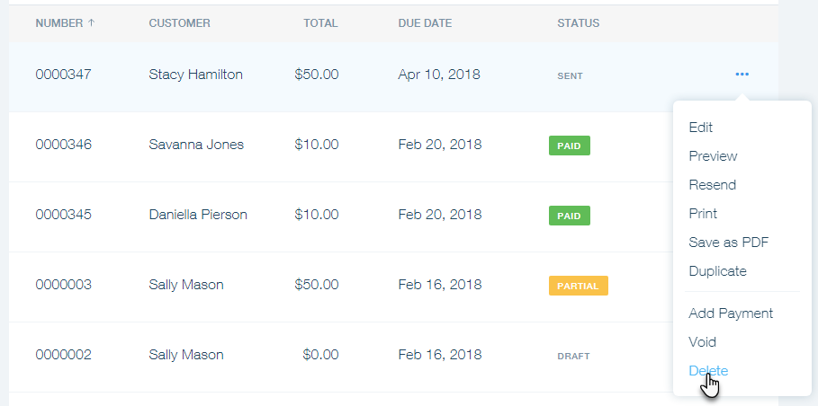 Deleting An Invoice In Wix Invoices Help Center Wixcom - A invoice or an invoice