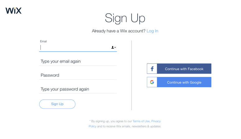Signing Up For A Free Wix Account Help Center Wix Com