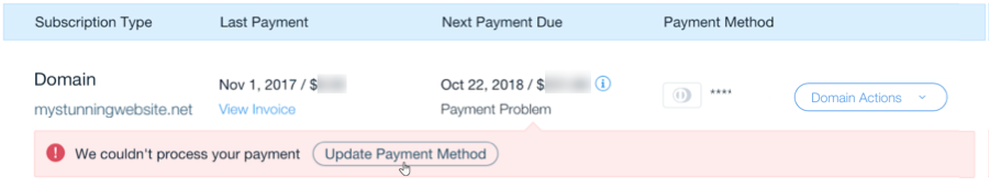 Updating Your Payment Method for a Failed Domain Payment