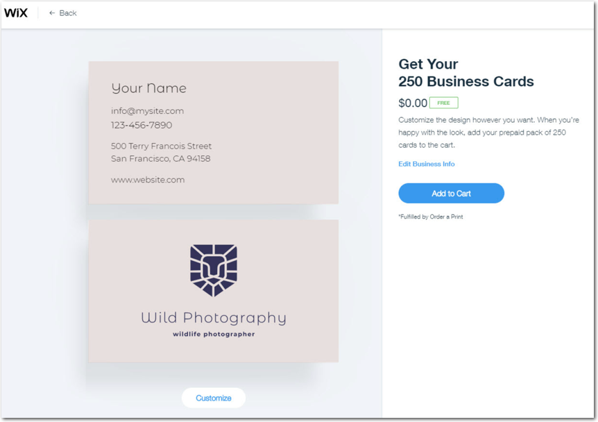 Redeeming Free Business Cards With Your Logo Help Center Wix Com