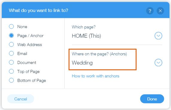 linking an element to an anchor help center wix com