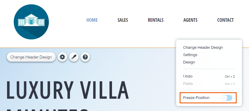 Elements Disappear When the Header is Frozen   Help Center   Wix com
