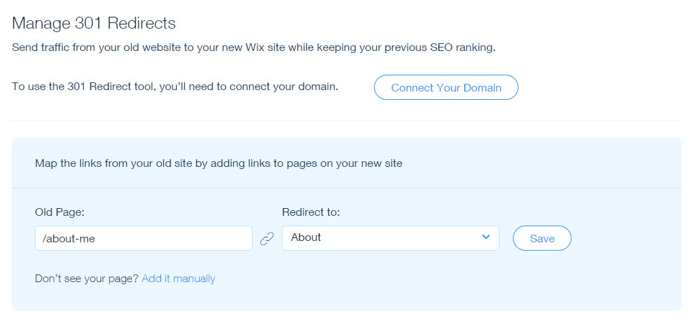Setting Up 301 Redirects From One URL to Another | Help Center | Wix com