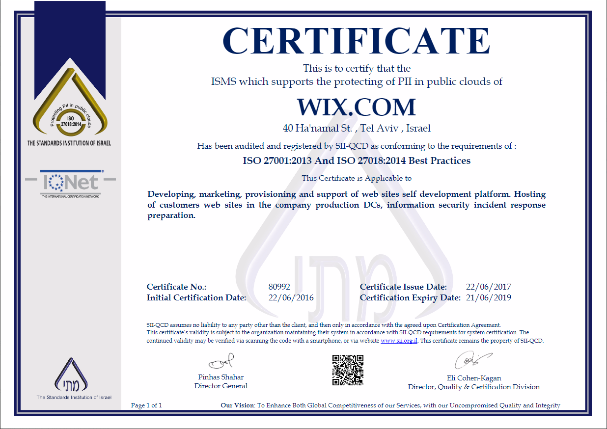 Security of wixs billing services and pci compliance help wix has been audited and certified as iso 27018 compliant the iso 27018 certification outlines industry best practices for handling personally identifiable xflitez Gallery