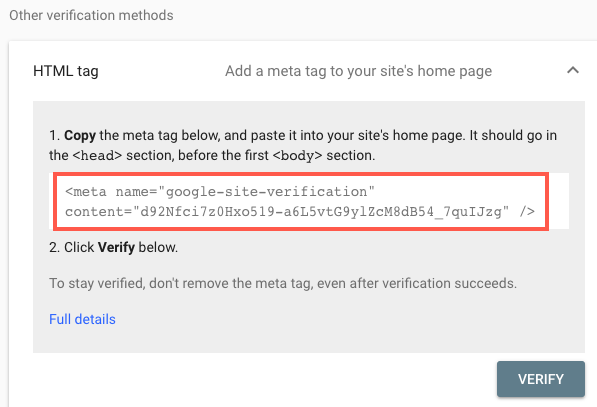 Manually Verifying Your Site With Google Search Console