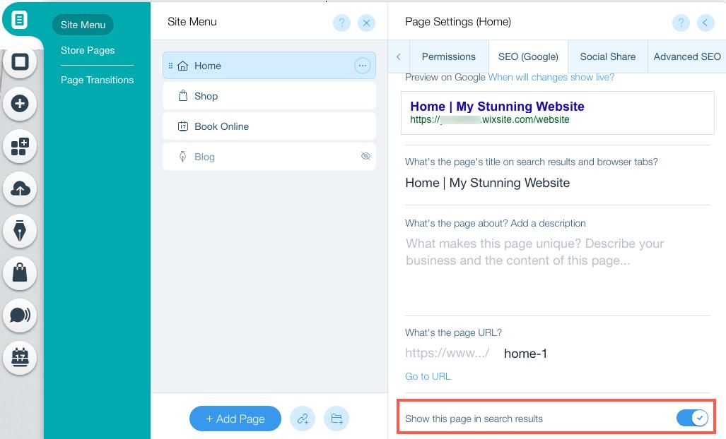 Unhiding a Page | Help Center | Wix com