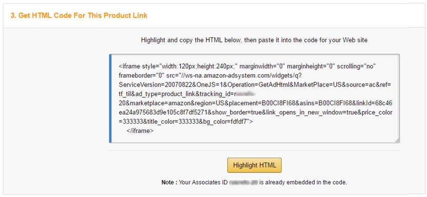 Adding Amazon Affiliate Links