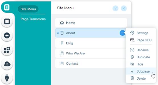 Creating a Subpage (Drop-Down Menu)   Help Center   Wix com