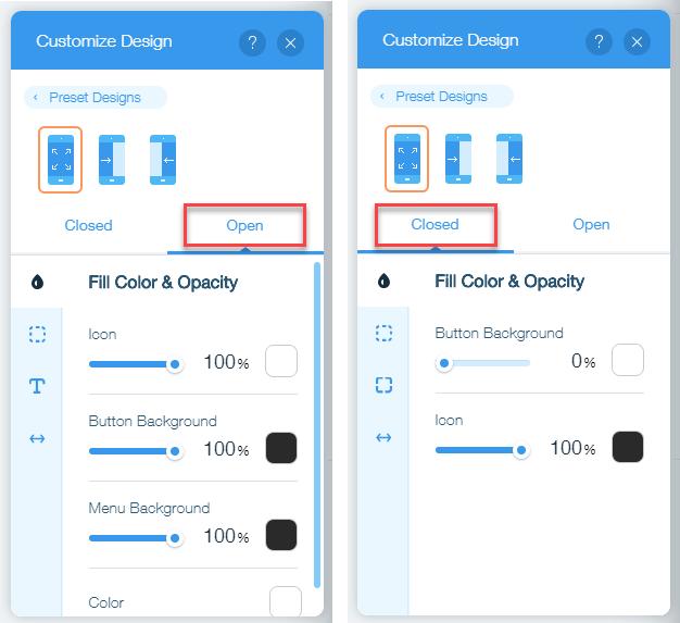 Customizing the Design of Your Mobile Menu | Help Center | Wix com