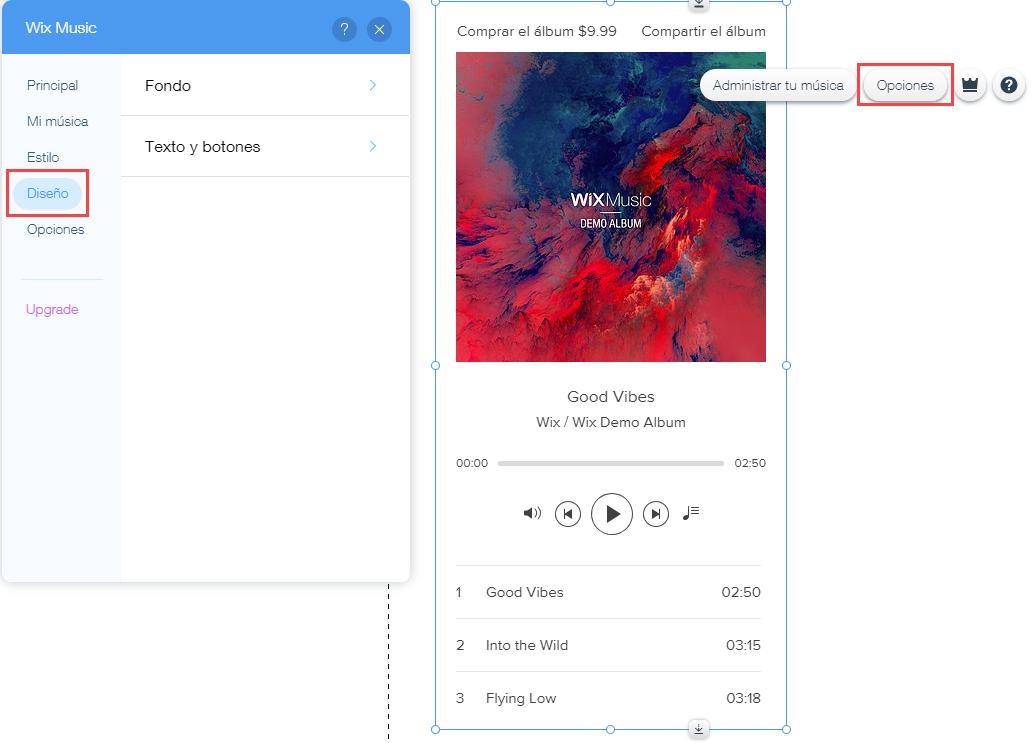 Cambiando el diseño (colores y fuentes) del reproductor de Wix Music ...