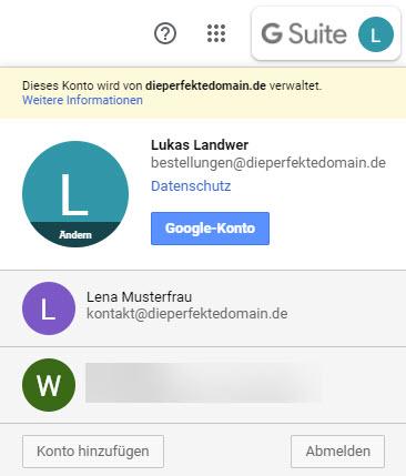 3ae3b15963 Wechsel zwischen deinen E-Mail-Konten in Gmail, indem du oben rechts auf  dein Profilbild oder deine Initialen klickst und dann das Postfach  auswählst, ...
