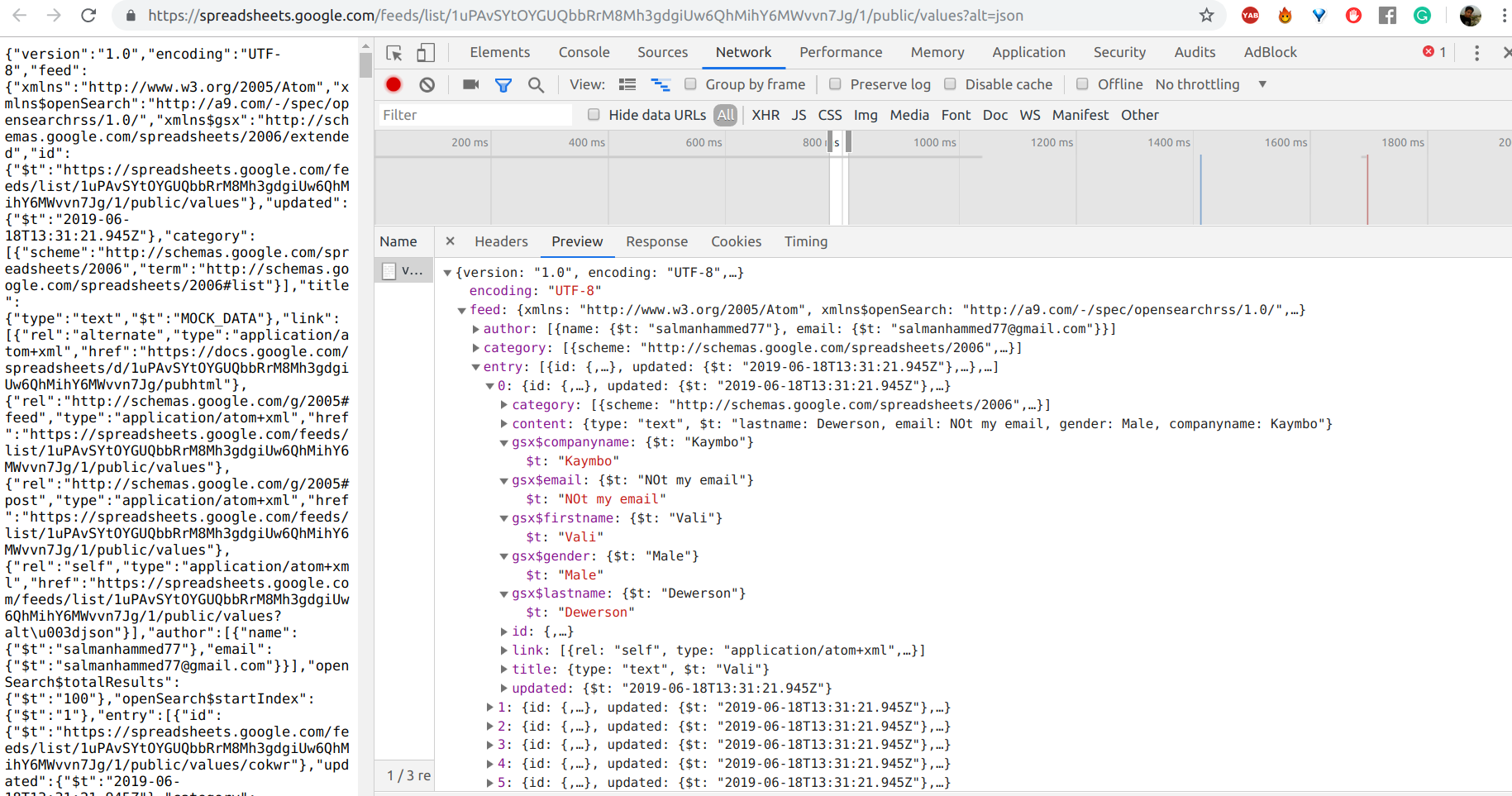 How to host Google sheet in JSON format using wix code
