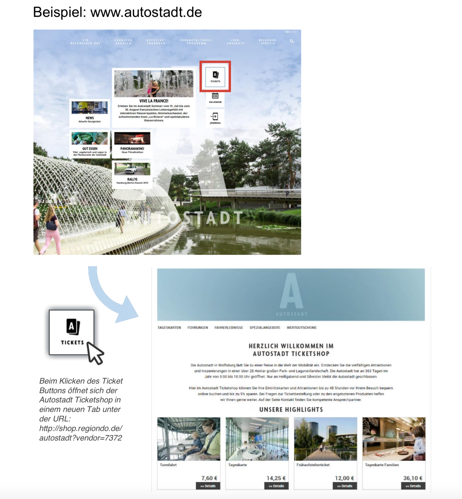 Wie funktioniert die Integration mit einem Link   Regiondo GmbH ...