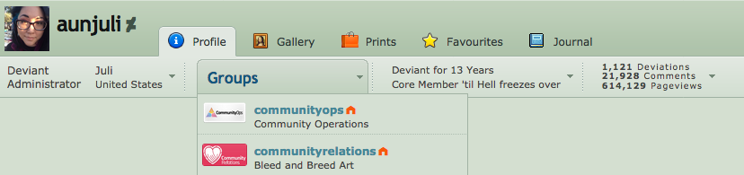 What is the Groups dropdown on my Profile? - DeviantArt