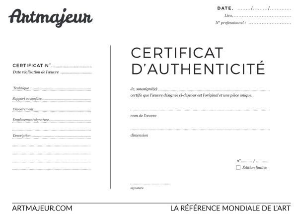 Creer Un Certificat D Authenticite Ou Certificat De Vente Artmajeur