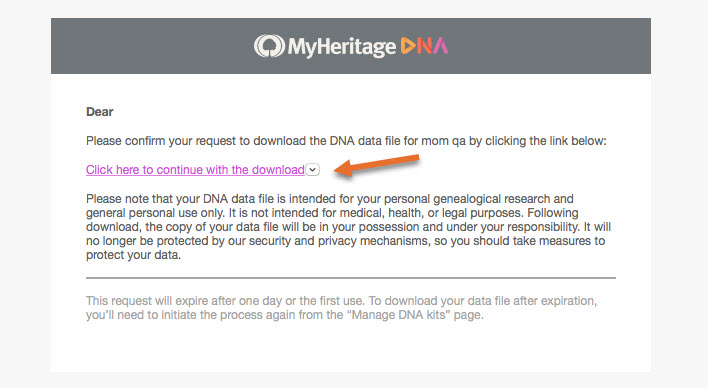 How do I download my raw DNA data file from MyHeritage