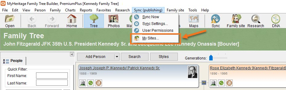 How do I change my login details in Family Tree Builder