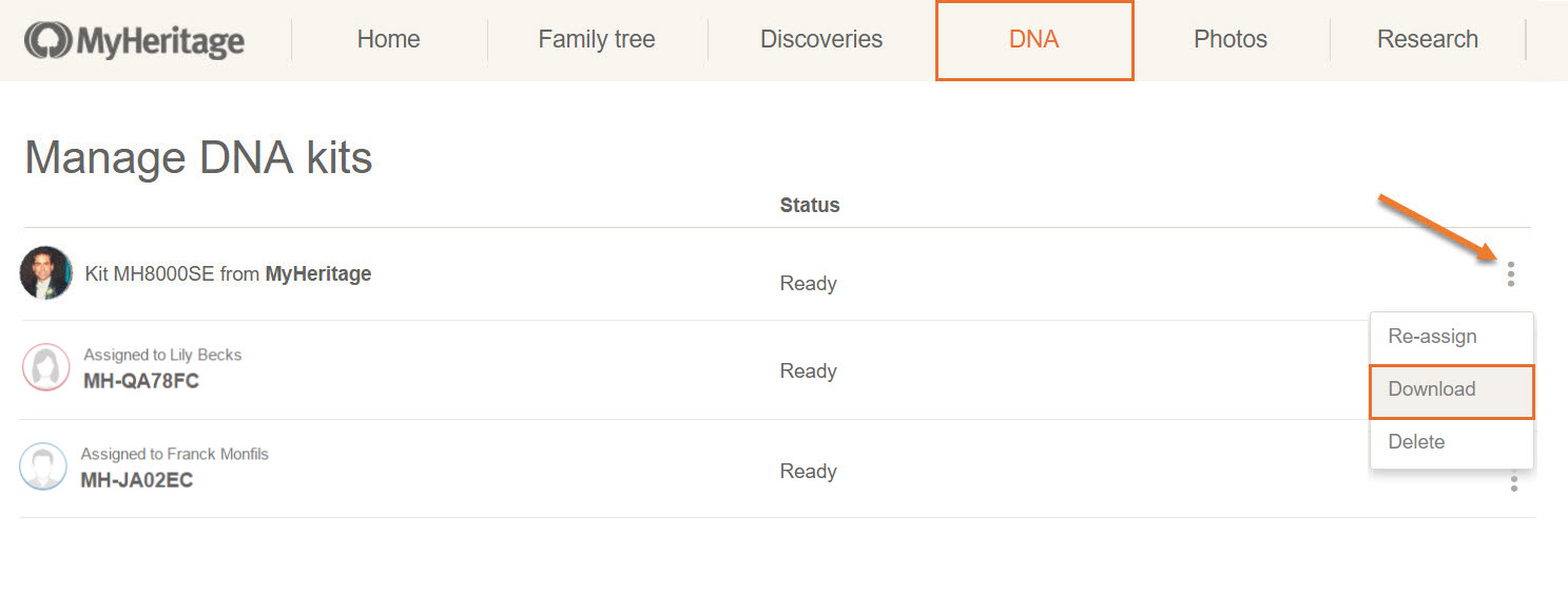 How do I download my raw DNA data file from MyHeritage? - MyHeritage