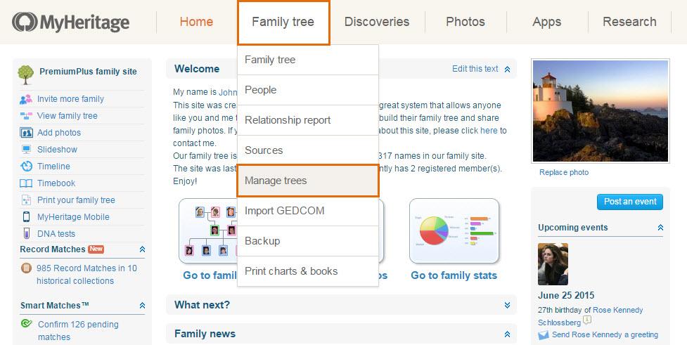 Wie Füge Ich Einen Neuen Stammbaum Zu Meiner Familienseite