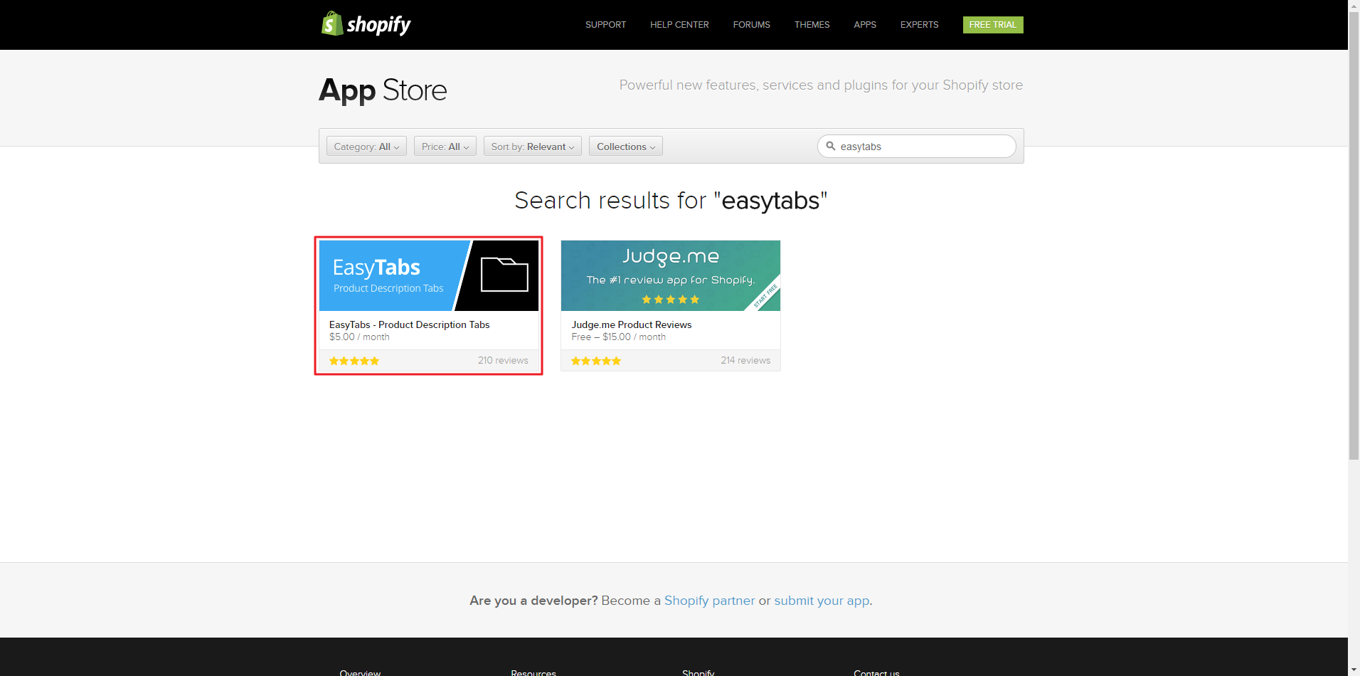 Shopify - Installing Reviews Widget in a Tab with EasyTabs