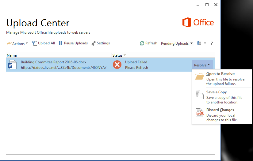 Faster Drive - Documents are stuck in the Microsoft Office