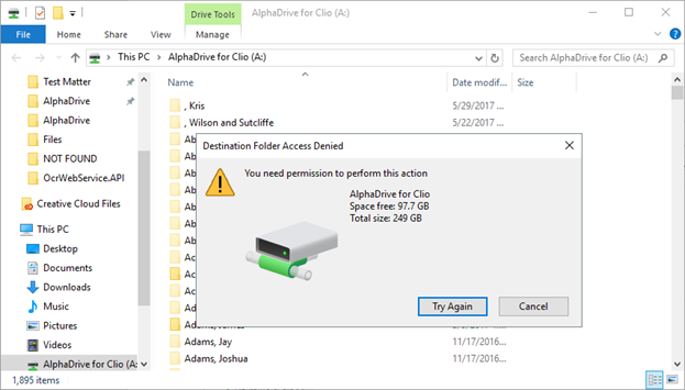 Why can't I save a file in this folder? - FasterLaw Knowledge Base