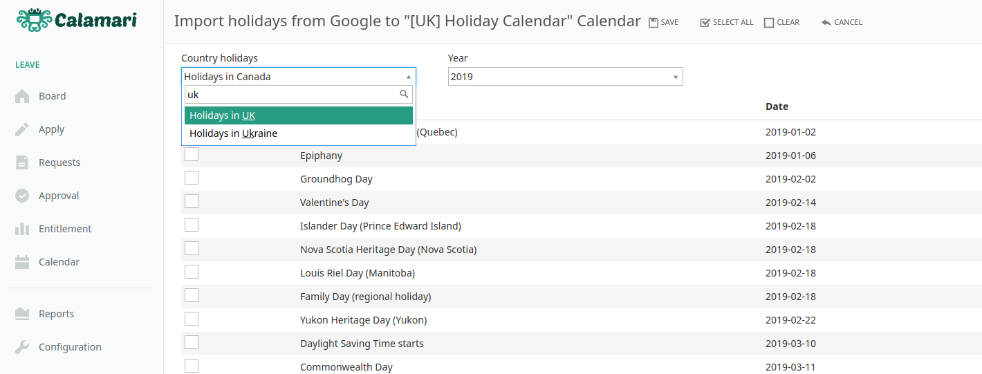How to add public holidays for different countries