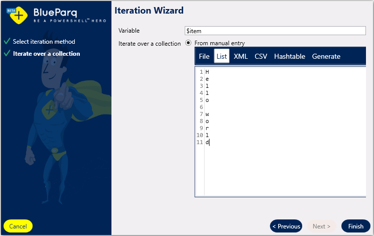The iteration wizard (loop) - BlueParq Knowledge Base